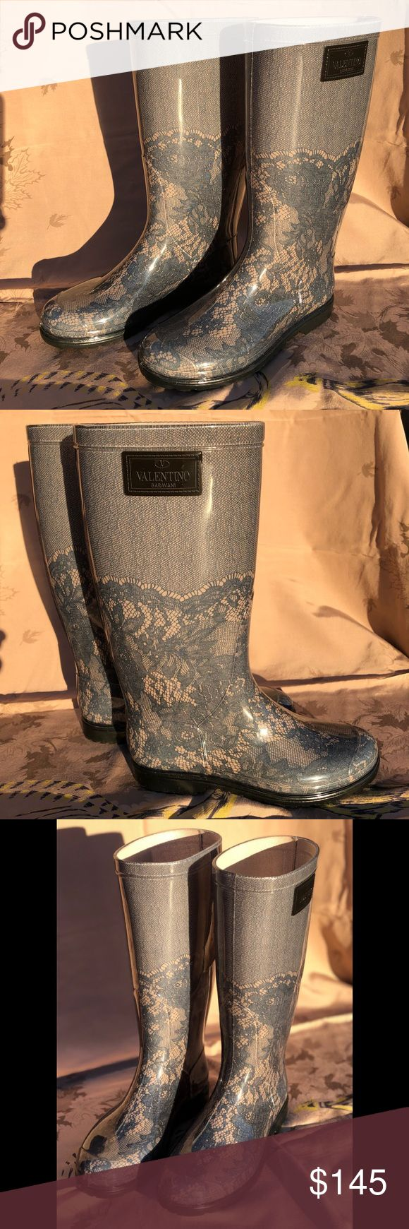 """Valentino Garavani Blue Blush Lace Rain Boots Pretty lace patterned Authentic Valentino Garvani rubber rain boots size37. Approximately 12"""" shaft, slip on style, rubber heel, textile lining. Excellent Condition-look unworn. Valentino Shoes Winter & Rain Boots"""