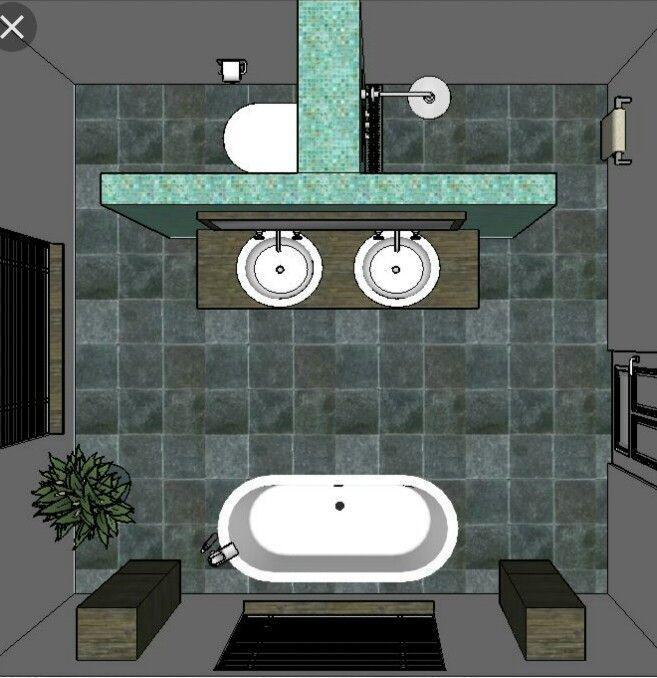 Schöne Badezimmerlösung, aber etwas zu symmetrisch mit hohen Schränken. Eher das Bad in der Ecke und die hohen Schränke versammelten sich