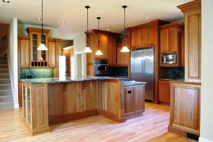 Kitchen:Alluring Wooden Kitchen Remodeling Furniture With Wooden Kitchen Cabinets And Wooden Shelves Ideas And Feat Pendant Lamps Also Wooden Kitchen Island With Granite Countertops Plus Kitchen Laminate Flooring Ideas Minimalist Kitchen Remodeling Ideas with Big Brown Wooden Cabinets and Shelves