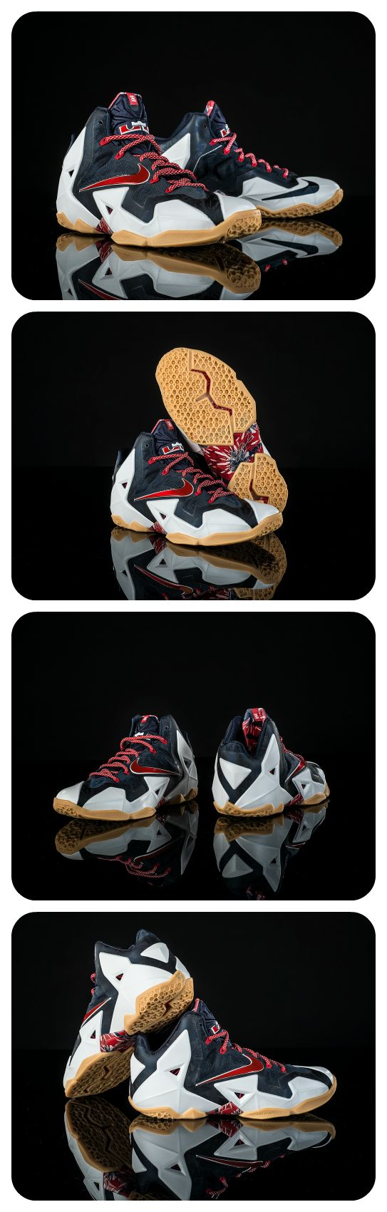 Get this red, white, and blue colorway of the Nike LeBron XI. #Basketball #Shoes