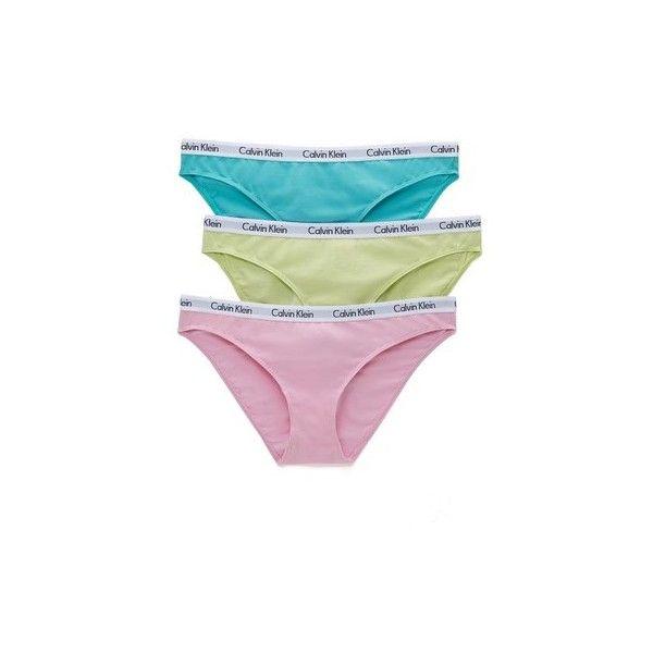 Calvin Klein Underwear Carousel 3 Pack Bikini Panties (19.400 CLP) ❤ liked on Polyvore featuring intimates, panties, underwear, underwear bikini, cotton panties, bikini panties, bikini panty and panty bikini