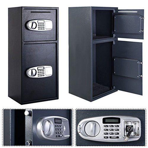 Fashion Double Door Digital Safe Depository Drop Box Safes Cash Office Security Lock New