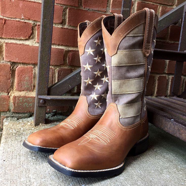 Durango Men's Mustang Faded Glory Flag Sq Toe Western Boots DDB0087