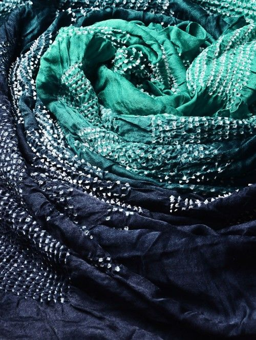 Navy-Green Gajji Silk Bandhani Dupatta from the website Jaypore (2017). This garment is dyed in the bendhani method. The little white dots help determine the method of dyeing.