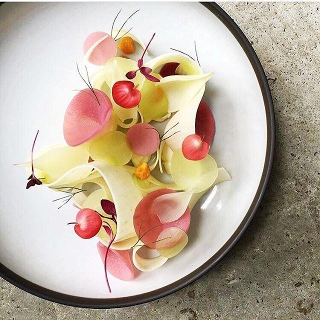 Granny Smith apple, raspberry poached kohlrabi, gooseberries, and cucumber by @czarneckigregory #TheArtOfPlating