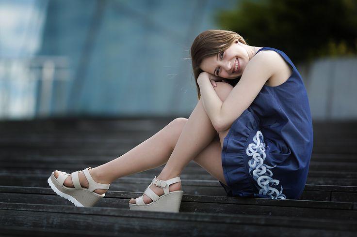 Hand Painted Denim Midi dress by GDesignArt