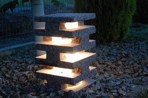 Gartenlampe aus Findling formatiert