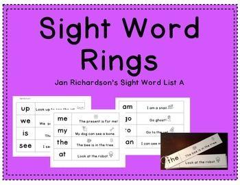 Jan Richardson's List A Sight Word Rings with SentencesKindergarten Sight Word List Aupweisseememytheatamgoto can
