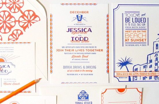 Oh So Beautiful Paper: Jessica + Todd's Art Deco Letterpress Wedding Invitations