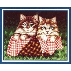 Collection D'Art 6.228 Pair of Kittens in a Basket Tapestry Canvas