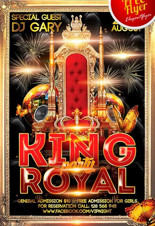 Free King Royal Party Flyer Template… | poster | Pinterest ...