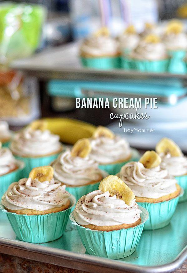 Banana Cream Pie Cupcakes: French vanilla cupcake with banana custard filling and banana buttercream frosting. recipe at TidyMom..net