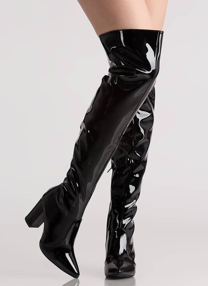 patent thigh high boots