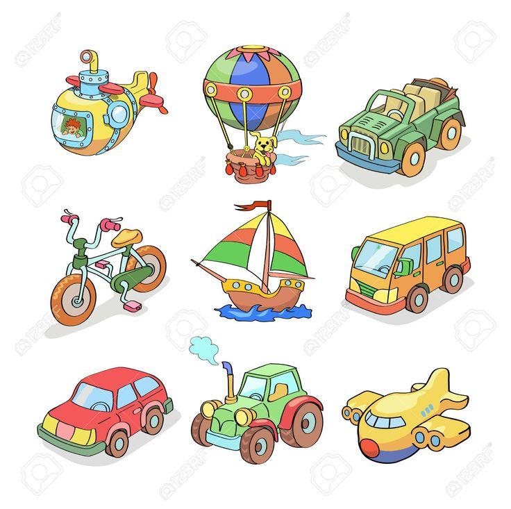 Colección De Dibujos Animados De Transporte-coloreado Aislado Ilustraciones Vectoriales, Clip Art Vectorizado Libre De Derechos. Image 33466469.