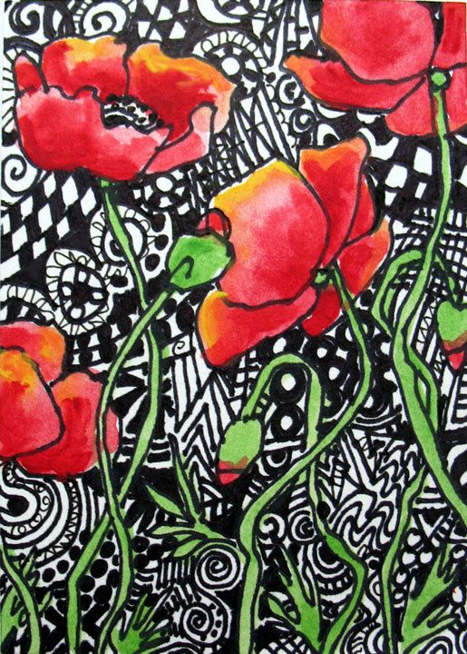 My ZEN POPPY  Archival Giclee Aceo print  flowers modern bold red zen tangle contemporary