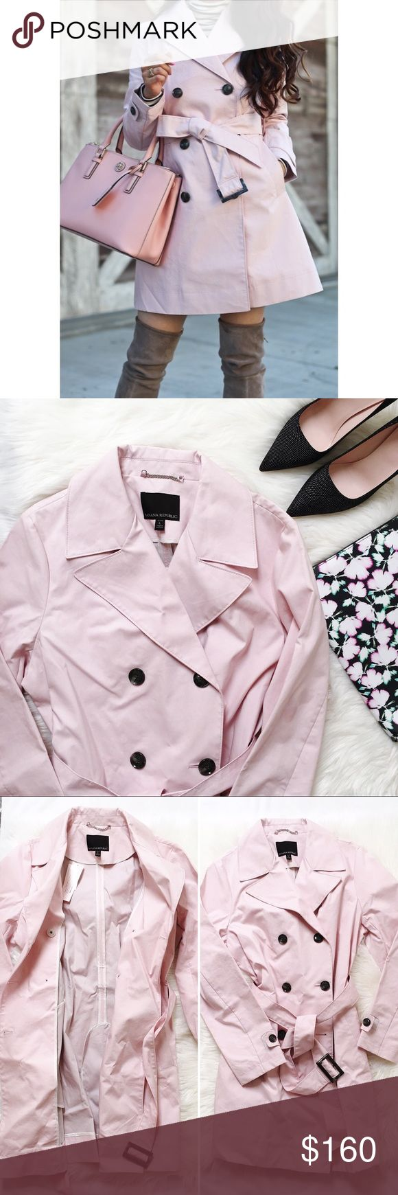 Banana Republic dusty pink belted trench jacket A classic belted jacket from Banana Republic in a lovely pale pink. I've been a little obsessed with #necessaryneutrals lately and this piece is no exception! Pair this jacket with boots or heels. Definitely a great staple that transitions from fall to spring! 🌷  Size: Large Petite 100% Cotton. Dry clean.  Photo credit 📷: Jane Song {fitfabfunmom.com} Banana Republic Jackets & Coats Trench Coats