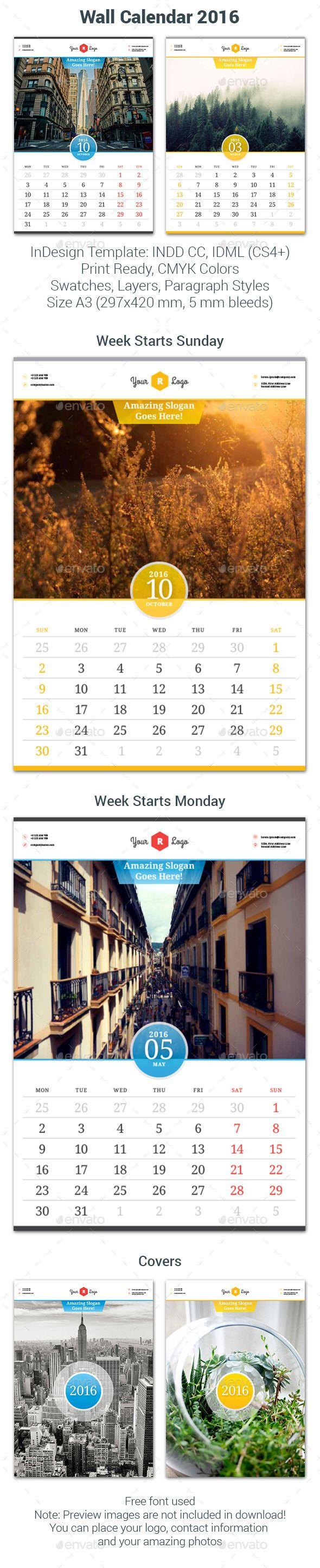 Wall Calendar 2016 Template #design Download: http://graphicriver.net/item/wall-calendar-2016/12012963?ref=ksioks
