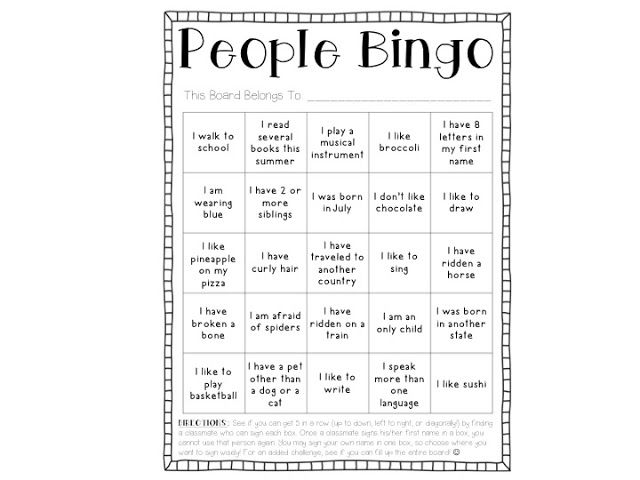 Bingo Game Board Template