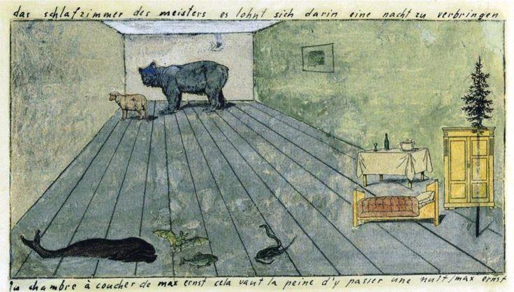 Max Ernst. La chambre à coucher de Max Ernst cela vaut la peine d'y passer une nuit, 1920. Collage et gouache sur papier Via studyblue