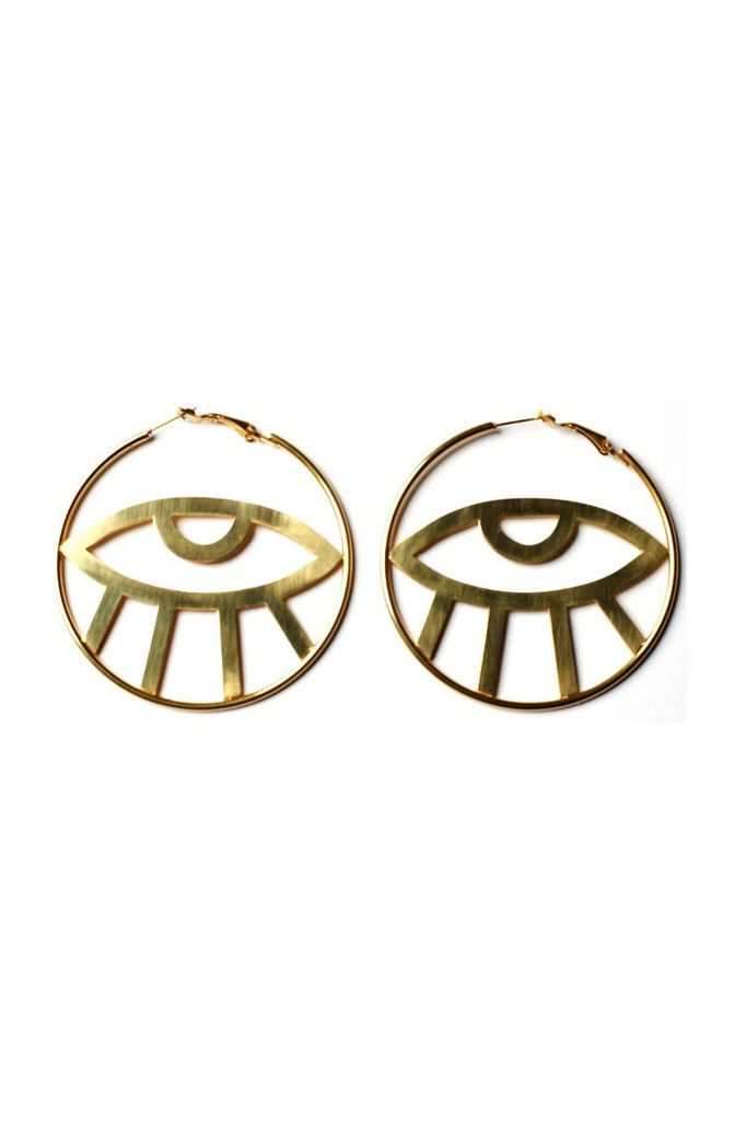 Third Eye Hoop Earrings http://shop.nylon.com/collections/whats-new/products/third-eye-hoop-earrings #NYLONshop