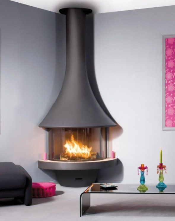corner freestanding fireplace - Google Search