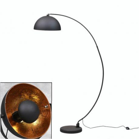 MAtt Black Arc Large Floor Lamp with Gold Copper Inner Shade