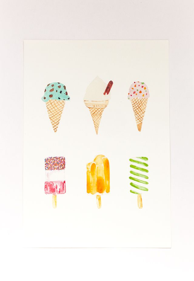 ice cream selection a4 print watercolour painting