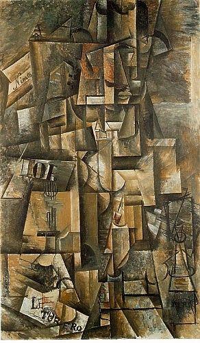 Pablo Picasso, L'Aficionado, 1912, olieverf op doek, 135 x 82 cm. Zie het kubisme: http://www.artsalonholland.nl/kunst-stijlen/kubisme-moderne-kunst