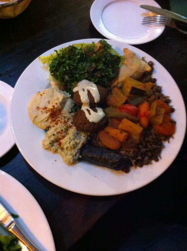 Vegetarian platter at Elie's Tent in Victoria Park. All made on the premises - authentic Lebanese food.
