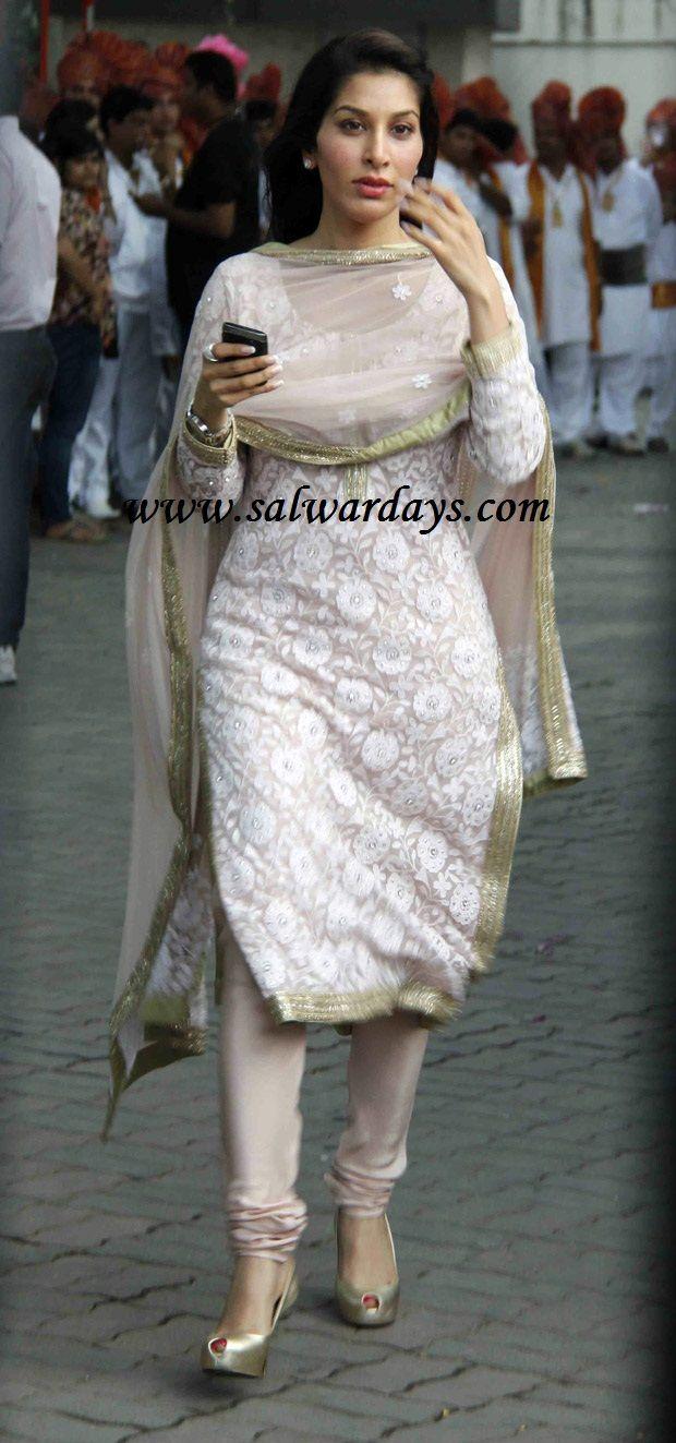 Designer salwar kameez mesmeric peach color net designer suit - Indian Salwars And Indian Fashion Sophie Choudhary In White Designer Brocade Work Salwar Suit