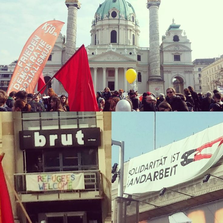 Some of Vienna's cultural institutions came out in support of the #M19 demonstration today. # Künstlerhaus #Brut #RefugeesWelcome  (at Resselpark beim Karlsplatz)