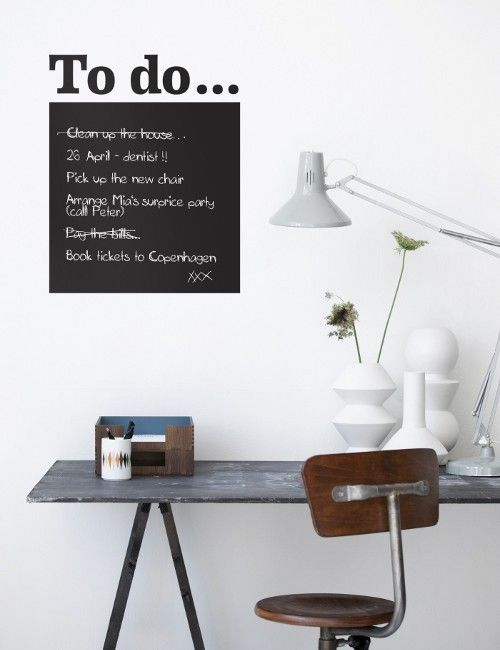 People with busy lives can always do with a little help getting organised. Pop this vinyl wall sticker in a prominent place in the kitchen and you'll never forget your 'to do' list!  This wall sticker comes complete with small bird  sticker,  chalk and post-its notes for a more glamorous way to memo.  Material Vinyl