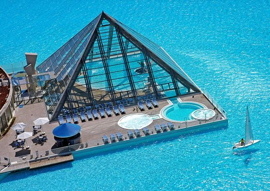 For nighttime swimming at San Alfonso del Mar, head to the temperature-controlled beach inside the pool's centrally located glass pyramid—the water and the sand are heated.