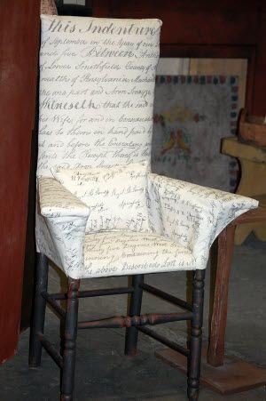 Primitiquesu0027 Make Do Fireside Chair In Monahan Scripted Fabric. A Very Versatile  Chair!