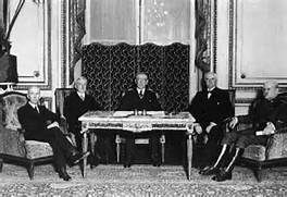 Treaty of Versailles - one of the peace treaties at the end of World War I. It ended the state of war between Germany and the Allied Powers. It was signed on 28 June 1919, exactly five years after the assassination of Archduke Franz Ferdinand.
