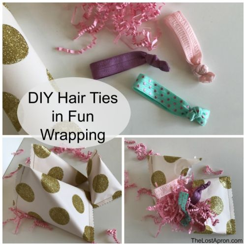 DIY Hair Ties in Fun Wrapping ---Elastic hair ties are simple to make and they are easy gifts. Wrap them in this fun wrapping and you are ready for friend gifts, party favors or stocking stuffers. - The Lost Apron