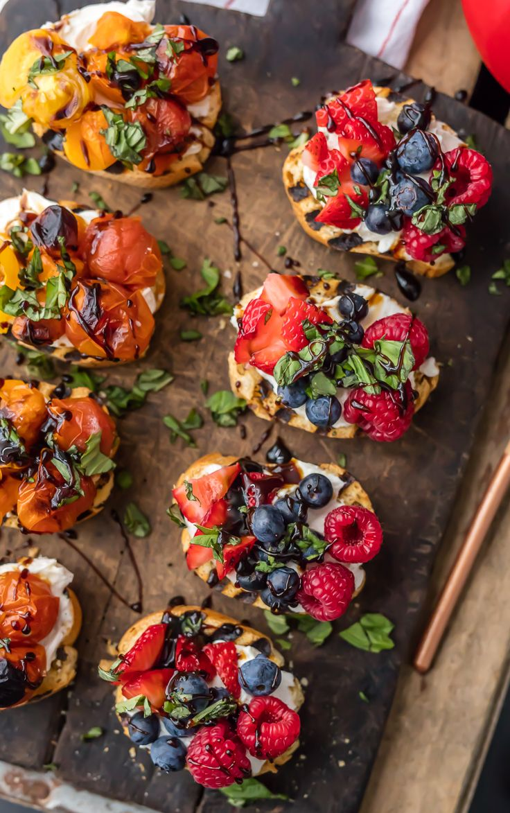 TRIPLE BERRY WHIPPED GOAT CHEESE BRUSCHETTA is beautiful and delicious! Plus a Caprese Whipped Goat Cheese Bruschetta that is everyone's favorite! Drizzled with balsamic reduction. Best classy appetizer for any occasion! Cattuong Bui