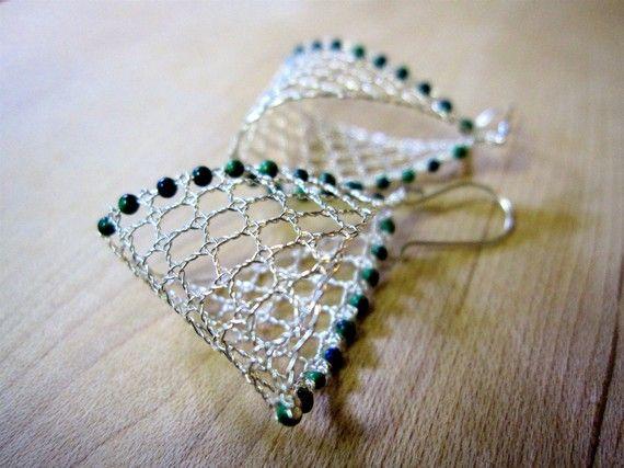 Beautiful handmade metal lace earrings.