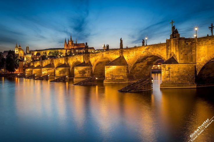 Карлов Мост, Прага, Чехия Достопримечательности Праги, Charles Bridge Prague Czech Republic evening