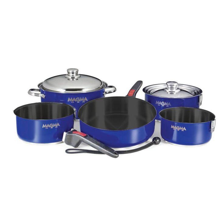Brand New Magma Nestable 10 Piece Teflon Stainless Steel Cookware - Cobalt Blue