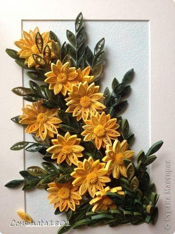 Картина, рисунок, панно Квиллинг: Желтые цветы!!! Бумажные полосы Отдых. Фото 1