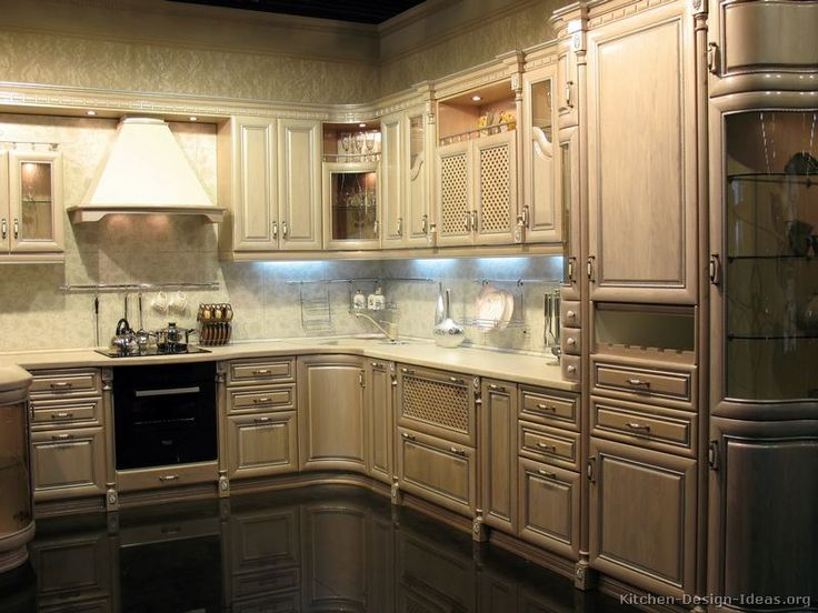 Kitchen Idea of the Day  Antique style whitewashed cabinets with curves. 68 best images about Antique White Kitchens on Pinterest   Two