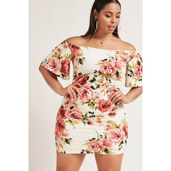Forever21 Plus Size Floral Mini Dress ($35) ❤ liked on Polyvore featuring plus size women's fashion, plus size clothing, plus size dresses, ivory, bodycon dress, bodycon mini dress, short floral dresses, short bodycon dresses and long-sleeve mini dresses