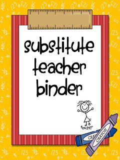 First Grade Fanatic!: Substitute Binder
