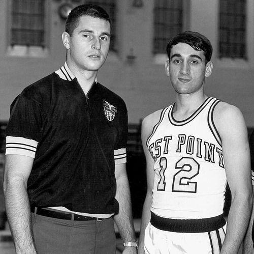 Army Black Knights head coach Bobby Knight poses with player Mike Krzyzewski circa 1966 in West Point, NY
