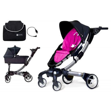Accesorii bebelusi :: Carucioare copii :: Carucioare 2 in 1 :: Carucior Cu Landou si Geanta cu Incarcator Iphone 4moms Origami Roz