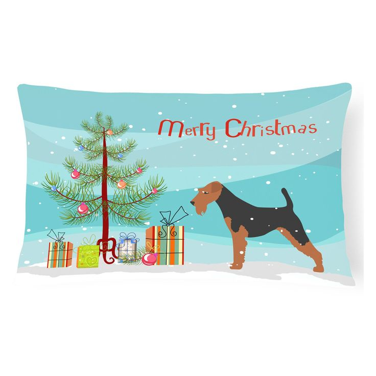 Carolines Treasures Welsh Terrier Merry Christmas Tree Rectangle Decorative Outdoor Pillow - BB2903PW1216