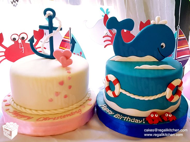 Nautical Birthday Cake for a Baby Boy and Nautical Christening Cake for a Baby Girl | Cakes by The Regali Kitchen