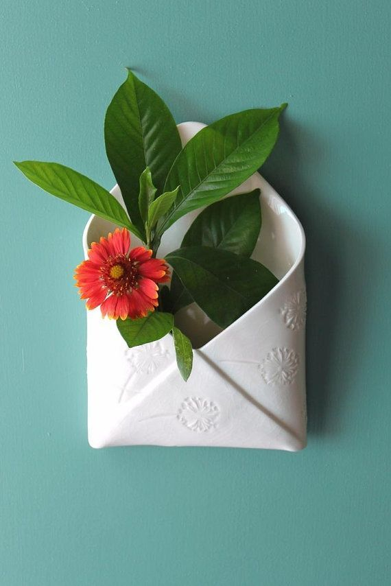 hanging envelope vase. Slab built porcelain vase w…
