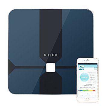 Kicode Báscula Digital de Análisis Corporal Bluetooth Compatible con Android e iOS Mide el Peso Grasa Corporal Porcentaje de Agua Músculo Hueso y Caloría